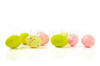 decorative easter eggs with reflection isolated on white background