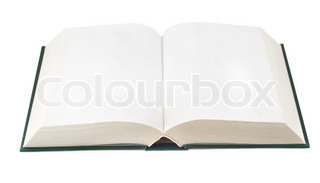 Open book with blank pages isolated on white background