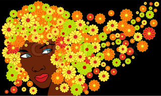 vector cute saxy african girl with floral hairs