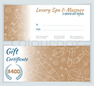 Spa massage gift certificate template with hand drawn thai spa massage gift certificate template yadclub Choice Image