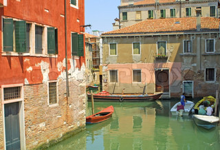 Colourful buildings and channels in Venice, Italy