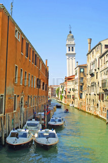 Leaning Tower of Greek Orthodox Church in Venice, Italy