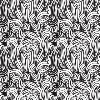 vector  monochrome seamless floral  background with unreal plants, clipping masks