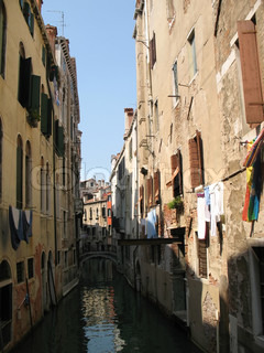 Small channel in oldest part of Venice, Italy.