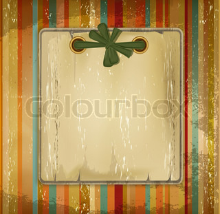 grunge old album with a bow on the striped background