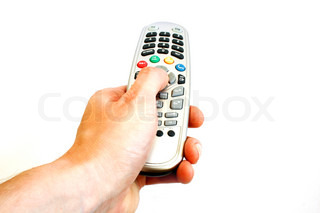 Hand with remote control isolated on white background