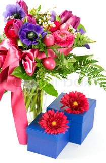 colorful spring flowers with gift box