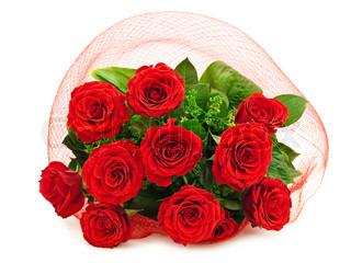 foto af roser buket mod den hvide baggrund