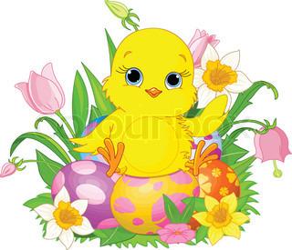Illustration af nyfødte Chick sidder på påskeæg