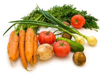 Die verschiedenen Gemüse über dem weißen Hintergrund