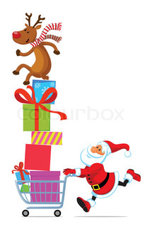 Santa Claus running with shopping cart full of gifts