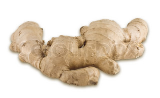 ginger root, closeup isolated on white