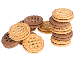 Cookies. A sweet, bakery product. Brown and white