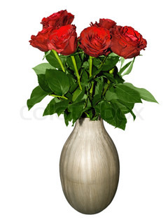 bouquet of red roses in vase isolated on a white background