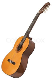 classical acoustic guitar isolated on white with clipping patch