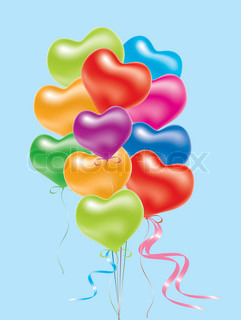 vector illustration of colorful balloons, shape of heart