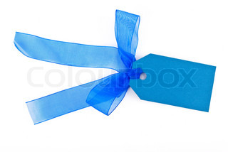 Blue gift tag tied with a bow of red satin ribbon