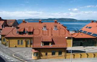 red roofs of old Bergen quarter
