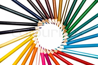 set of color pencils circle over white bacground