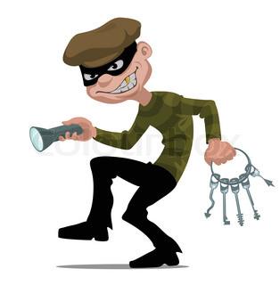 cartoon thief with flashlight and skeleton keys