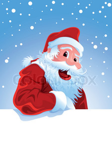 Happy Santa Claus over hvide blank
