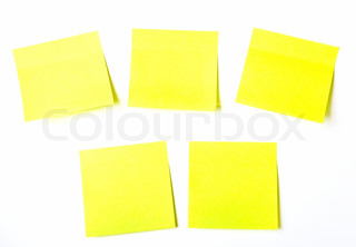 set of office related coloured Yellow  paper sticky notes on white background