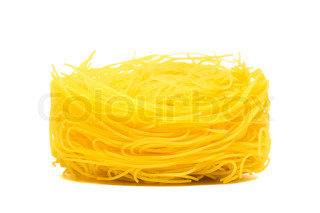 yellow beautiful pasta on a white background