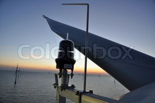 Sunset at Wind park Roedsand 2 DK