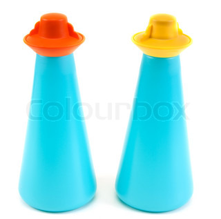Plastic saltcellar and pepper shaker insulated on white background