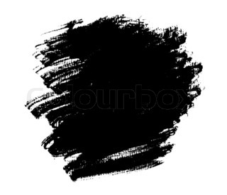 Black Spot Grunge Drawn With A Brush On A White Stock