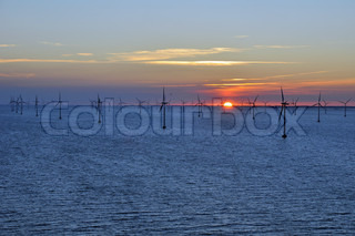 Sunset over wind farm