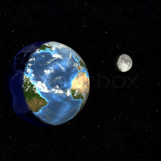 Render of Earth turning from night to day, and the moon in phase.