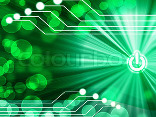 computer motherboard on a green background with a simulation of the light rays and glare