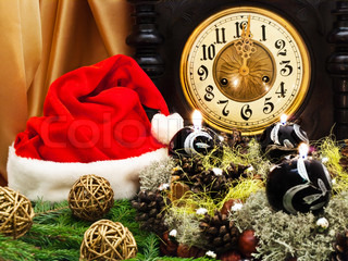 New Year composition with old clock,