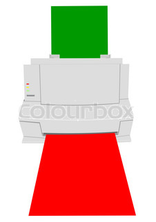 Illustration of the old printer with a paper of green and red colour