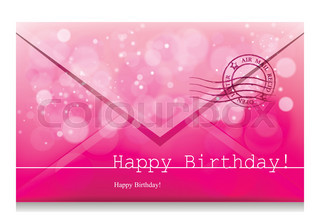 Happy Birthday Design Vector ~ Vector inscription on a pink background with bokeh and light. happy
