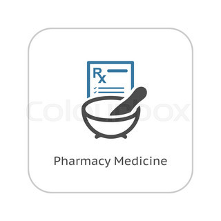 Pharmacy Medicine Icon. Flat Design.