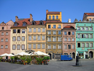 Colorful buildings on Market Square, Warsaw, Poland
