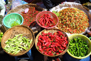 Different species of pepper in cambodian bazaar