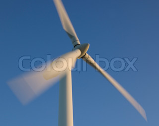 Wind turbine blade at blue sky