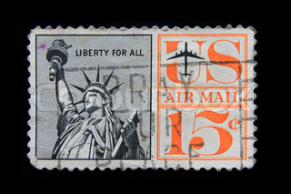 U.S. postage stamp with the Statue of Liberty