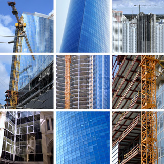 collage of construction of modern skyscrapers and building crane