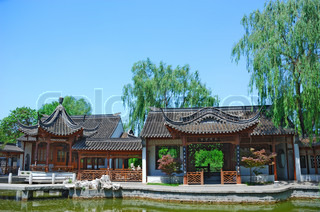 Ancient chinese house on the coast of lake