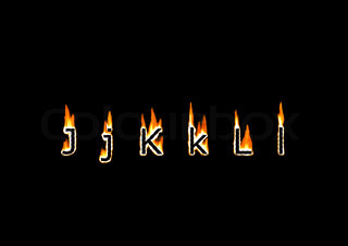 Letters J, K, L of alphabet in fire