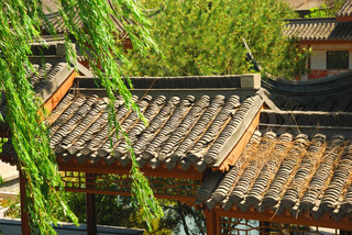 Roof of ancient chinese house in the garden
