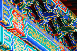 Colorful elements of chinese roof of temple