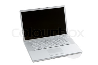 Silver portable computer with CD inserted. 3/4 view.