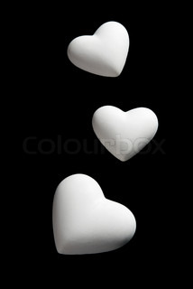 Valentine's Day blank white Hearts Isolated on black Background with clipping path