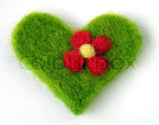 Green felt handmade heart