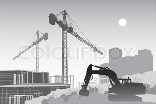 Image of the construction site with cranes, scaffolding and a tractor in the foreground